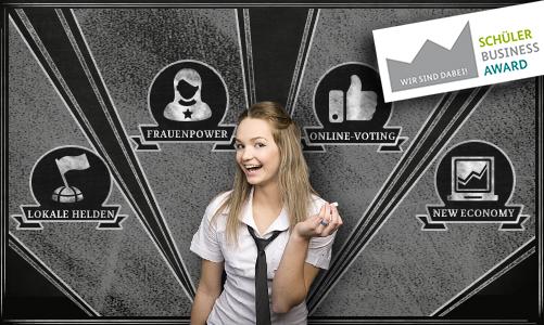 """Link zur Seite """"Anmelden"""" (Schülerin steht vor steht vor den Pokelen für die Bereiche Lokale Helden, Frauenpower, Online-Voting und New Economy)"""