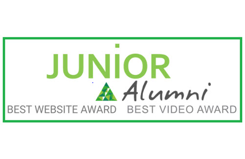 Logo des Best Website und Best Video Awards, Schriftzug: JUNIOR Alumni Best Website Award Best Video Award